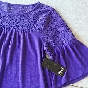 a.n.a~ top with lace inset~ purple!